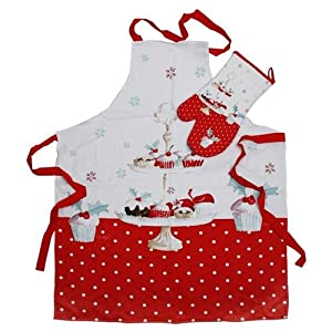 Christmas cup cakes design ladies apron amp matching oven glove gift set