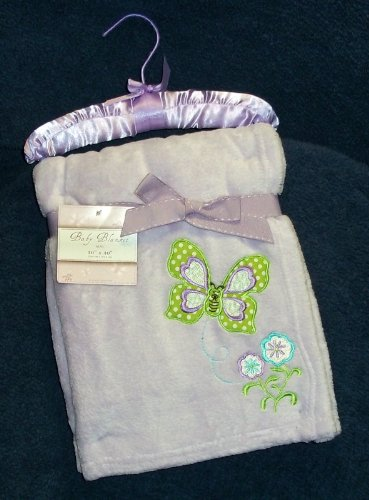Lavender Butterfly & Flowers Embroidered Plush Minky Baby Blanklet