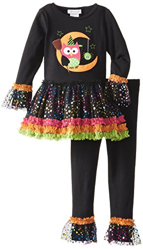 Bonnie Jean Little Girls' Owl Halloween Appliqued Legging Set