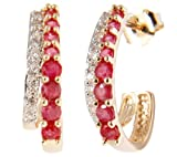 14k Yellow Gold Ruby and Diamond J-Hoop Earrings