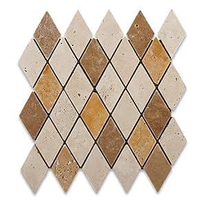 Mixed Travertine 2 X 4 Diamond / Rhomboid Tumbled Mosaic Tiles