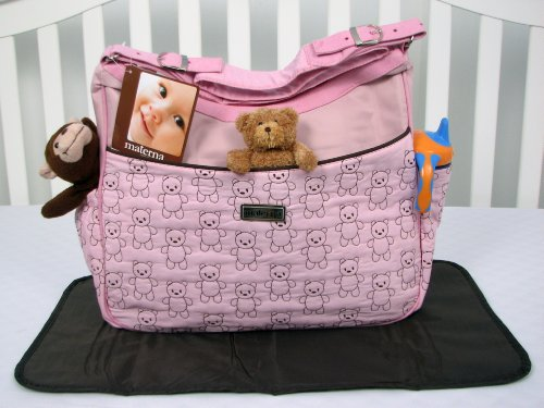 Soho Pink And Brown Stitch Teddy Bears Diaper Bag With Changing Pad front-820307