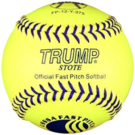 Trump® FP-12-Y-375 12 Inch USSSA Blue Stitch Leather Fastpitch Softball (375 Compression) (Sold in Dozens)