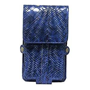 Jo Jo A6 Bali Series Leather Pouch Holster Case For Alcatel OT-6034R Dark Blue
