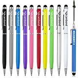 Cambond Bundle of 10 Colorful 2 in 1 Slim Stylus for Universal Capacitive Touch Screen Pen for iPhone 4/4S 5/5S,iPad Air, Android Smart Phone and All Touch screen Devices, Camboond Gift Stylus Included
