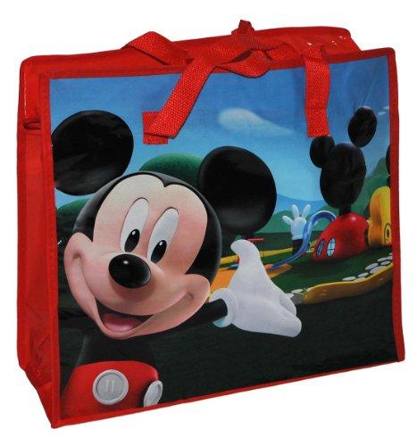 Shopper / Tragetasche / Umhängetasche mit Disney Mickey Mouse - Kindertasche Tasche Stoff für Mädchen Jungen Tragetasche Beutel Einkaufstasche - beschichtet und abwischbar - Strandtasche Reisetasche
