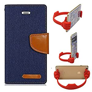Aart Fancy Wallet Dairy Jeans Flip Case Cover for NokiaN520 (NavyBlue) + Flexible Portable Mount Cradle Thumb OK Designed Stand Holder By Aart Store.