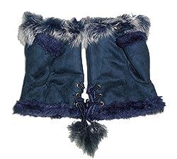 JTC Women's Rabbit Fur / Suede Half Gloves Arm Warmers Hand Warmers (Navy Blue)