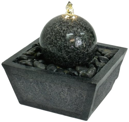 Algreen Illuminated Relaxation Fountain with Granite Ball and Natural Stones
