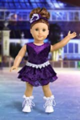 Ice Skating Queen - Outfit includes Purple Leotard with Ruffle Skirt, Decorative Head Band and White Skates - Clothing for 18 inch Dolls