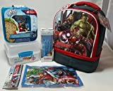 Marvel Avengers Age of Ultron Double Compartment Soft Insulated Lunch Bag with Sistema Lunch Cube, Sistema BPA-free Cutlery Set, 4 BPA-free Avengers Lunch Containers, and (1) Avengers Ice Pack