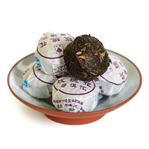 80pcs-1834-oz-2015-year-yunnan-red-rose-flower-flavored-puer-puer-puerh-tea-mini-ripe-tuo-cake