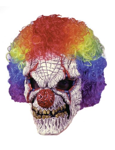 Scary-Masks Clown Mask W Wig Halloween Costume - Most Adults