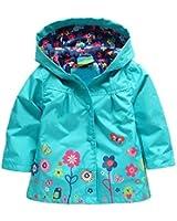Arshiner Kinder Mädchen Blumenmuster Wasserdichte Regenmantel Regenjacke 5 Farben Wählbar