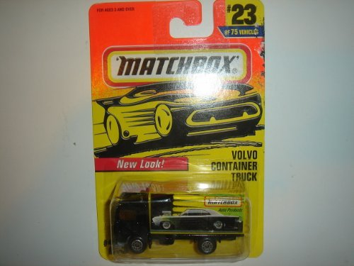 Matchbox Volvo Container Truck Black/Yellow #23 by Mattel - 1
