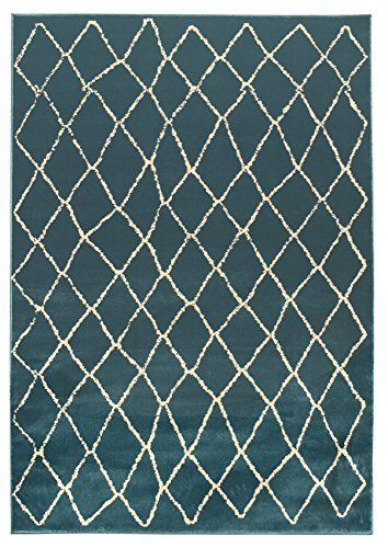 Vintage Moroccan Trellis 5' x 7' (59 inch by 83 inch) Teal-Blue Area Rug Zahra Collection Luxury Frieze Pile