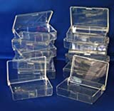 12 CLEAR PLASTIC STORAGE BOXES, CRAFT, SEWING, BEADS, JEWELLERY, DIY, FISHING
