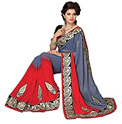 RUDDHI GREY AND RED WOMEN'S FASHION PURE GEORGETTE SAREE