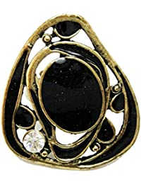 Sansar India Ethnic Black Stone Alloy Big Ring For Girls And Women