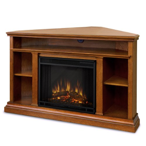 Winston Ventless Electric Entertainment Center Indoor Corner Fireplace - Oak