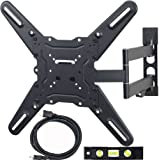 VideoSecu LED LCD TV Wall Mount for 23 to 55 inch Televisions up to 88 lb VESA 400x400 mm with Full Motion Swivel Articulating Arm, 20 in Extension and Post-installation Leveling System, for Monitor Flat Panel Screen, Bonus 10 ft HDMI cable and Magnetic Bubble Leveler WP5