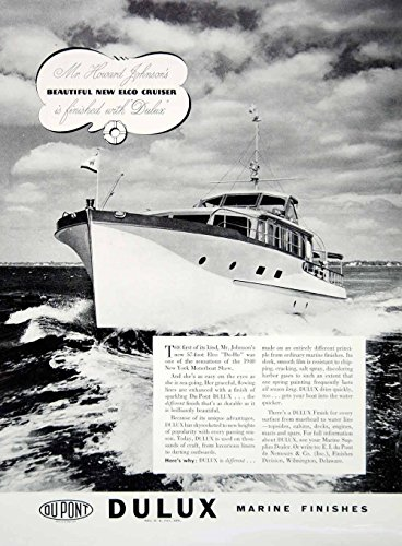 1940-ad-dupont-dulux-marine-paint-elco-do-ho-cruiser-yacht-boat-howard-johnson-original-print-ad