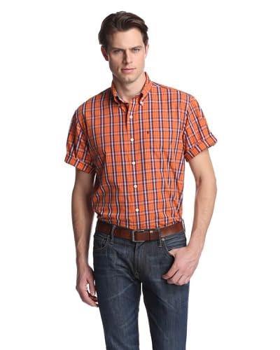 IZOD Men's Short Sleeve Medium Plaid Woven