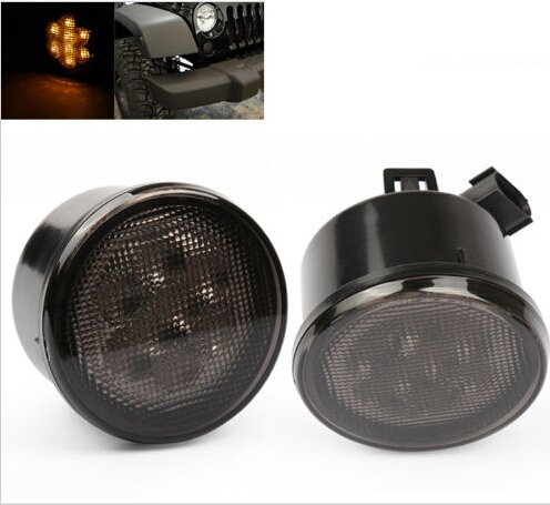SUNPIE Amber Front LED Turn Signal Light Assembly for 2007~2016 Jeep Wrangler JK Turn Lamp Fender Flares Eyebrow Indicator Side Maker Parking Lights Bulb Smoke Lens Pack of Two (Jeep Smoke Fog Lights compare prices)