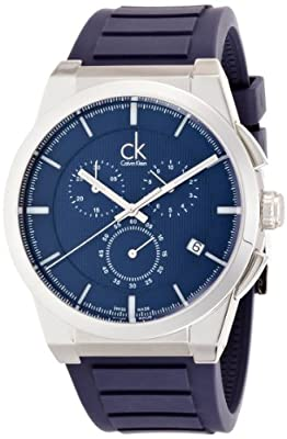 Calvin Klein Men's 'Dart' Swiss Quartz Stainless Steel and Rubber Automatic Watch, Color:Blue (Model: K2S371VN)