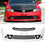 Pre-painted Front Bumper Cover Fits 2006-2011 Honda Civic | Mugen RR Style Taffeta White Painted #NH578 PP Front Lip Spoiler Diffuser Cover Guard by IKON MOTORSPORTS | 2007 2008 2009 2010
