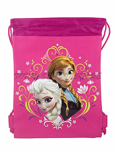 Best Buy! New Disney Frozen Queen Elsa Drawstring String Backpack School Sport Gym Tote Bag!- Pink