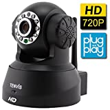 TENVIS JPT3815W-HD Wireless Surveillance IP/Network Security Camera, Baby Monitor, Night Vision, Black
