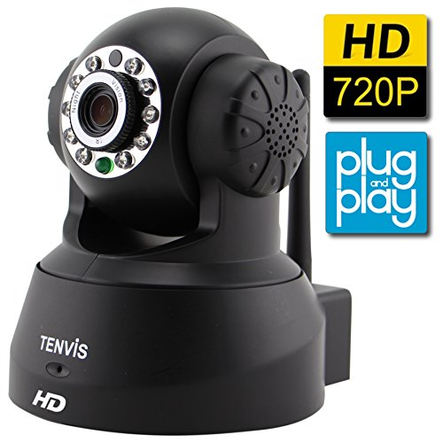 TENVIS JPT3815W-HD H.264 Megapixel P2P Smart IP Camera  (Black)
