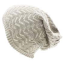 Unisex Chevron Vented Soft Knit Long Beanie Slouchy Slouch Skull Hat Cap Lt Gray
