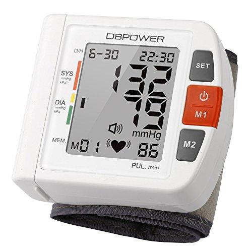Tensiómetro,Monitor de presión arterial de muñeca de DBPOWER, Alta precisión, 90 memorias, Dos modos de usuario con indicadores BHI y OMS, Certificado por la CE FDA