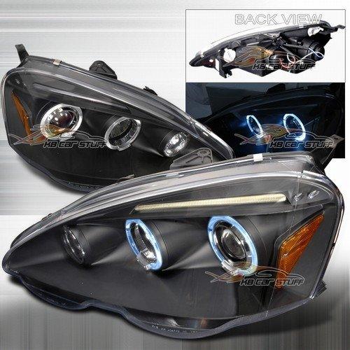 02-04 Acura Rsx Dual Halo Led Eyebrows Projector Headlights - Black