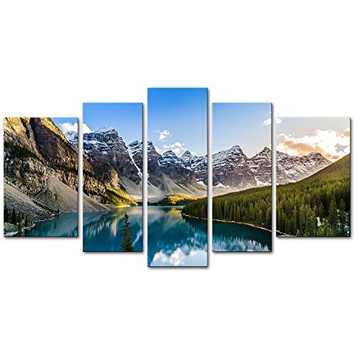 5 Pieces Modern Canvas Painting Wall Art The Picture For Home Decoration Moraine Lake And Mountain Range Sunset Canadian Rocky Mountains Landscape Print On Canvas Giclee Artwork For Wall Decor (Nature Paintings On Canvas compare prices)