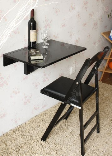 Sobuy Wall-Mounted Drop-Leaf Table, Folding Kitchen & Dining Table Desk, Children Table,Fwt03-Sch,Black