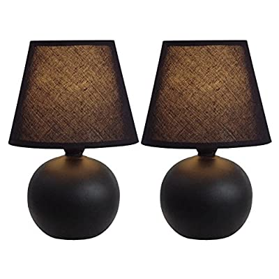 All The Rages LT2008-YLW-2PK Simple Designs 		Yellow Ceramic Globe Table Lamp
