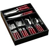Premier Housewares Cafe Cutlery Set with Tray - 36-Piece - Red