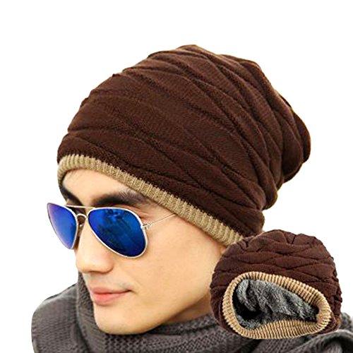 eizur-uomo-morbido-foderato-maglia-cappello-beanie-inverno-thick-caldo-slouchy-berretto-caffe