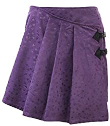 Attuendo Women's Pleated Suede Mini Skirt (X-Large, Embossed Purple)