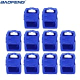10pcs Handheld Soft Rubber Case Portable Silicone Cover Shell for Baofeng UV-5R Series Two Way Radios Walkie Talkie (Blue) (Color: Blue)