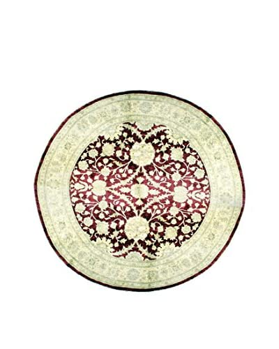 Bashian Hand Knotted Mansehra Rug, Red, 8' Round