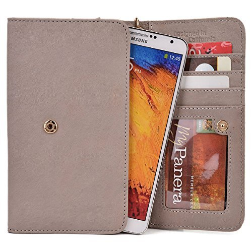 Kroo Xolo Era, Cube 5.0, A1010, Win Q1000, 8 X 1020, Omega 5.0, Opus 3, Q1020, Opus Hd, Play 8 X 1100, Taupe Genuine Leather Wallet With Strap And Coin Pocket [ Limited Edition]