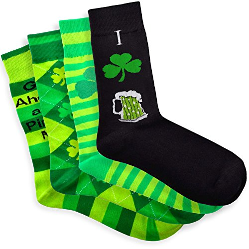 Soxnet Pinch Me St. Patricks Day Cotton Crew 4pairs Socks, Size 10-13