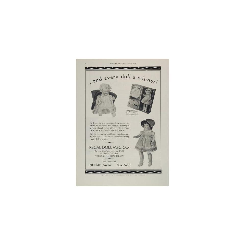 1931 Ad Regal Doll Kiddie Pal Dollies Hug Me Babies   Original Print Ad