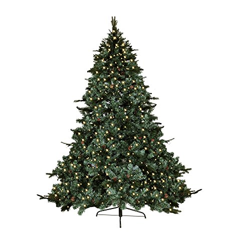 7.5' FT CLASSIC EVERGREEN HOLIDAY ARTIFICIAL GREEN PRE LIT LED LIGHT UP BULBS MIXED PE/PVC TIPS WITH DECOR PINE NUTS EIGHTS FEET PRELIT CHRISTMAS TREE (Pine Tree Plug compare prices)