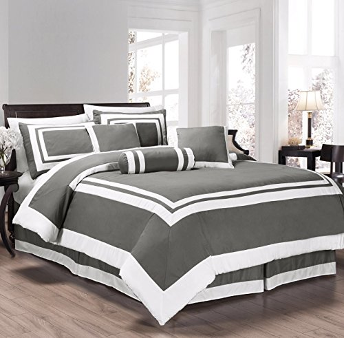 Chezmoi Collection 7 Pieces Caprice Gray/White Square Pattern Hotel Bedding Comforter Set (King, Gray/White) (Grey Hotel Comforter compare prices)
