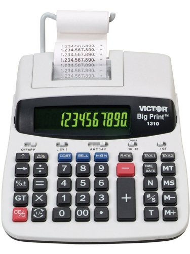 Victor - 1310 Big Print Desktop Calculator 10 To 12-Digit 2-Color Dot Matrix Display